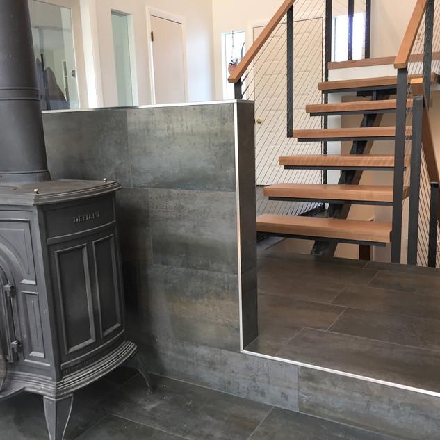 Hearth & modern staircase