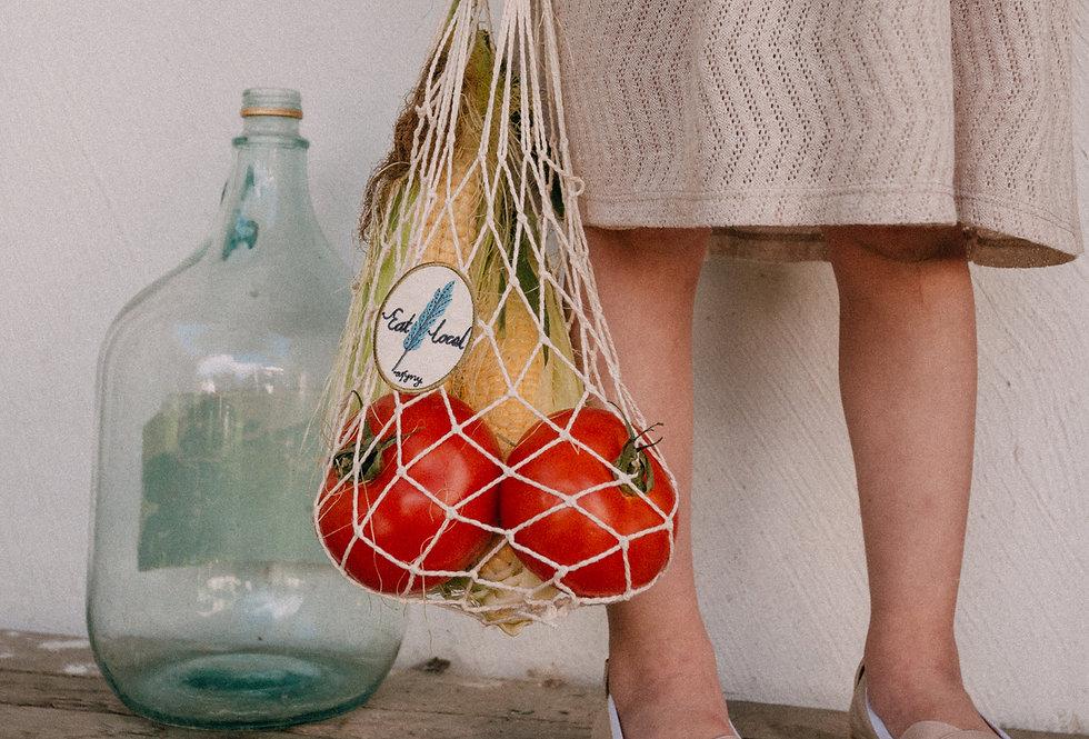 Бежева сумка-сітка для діток