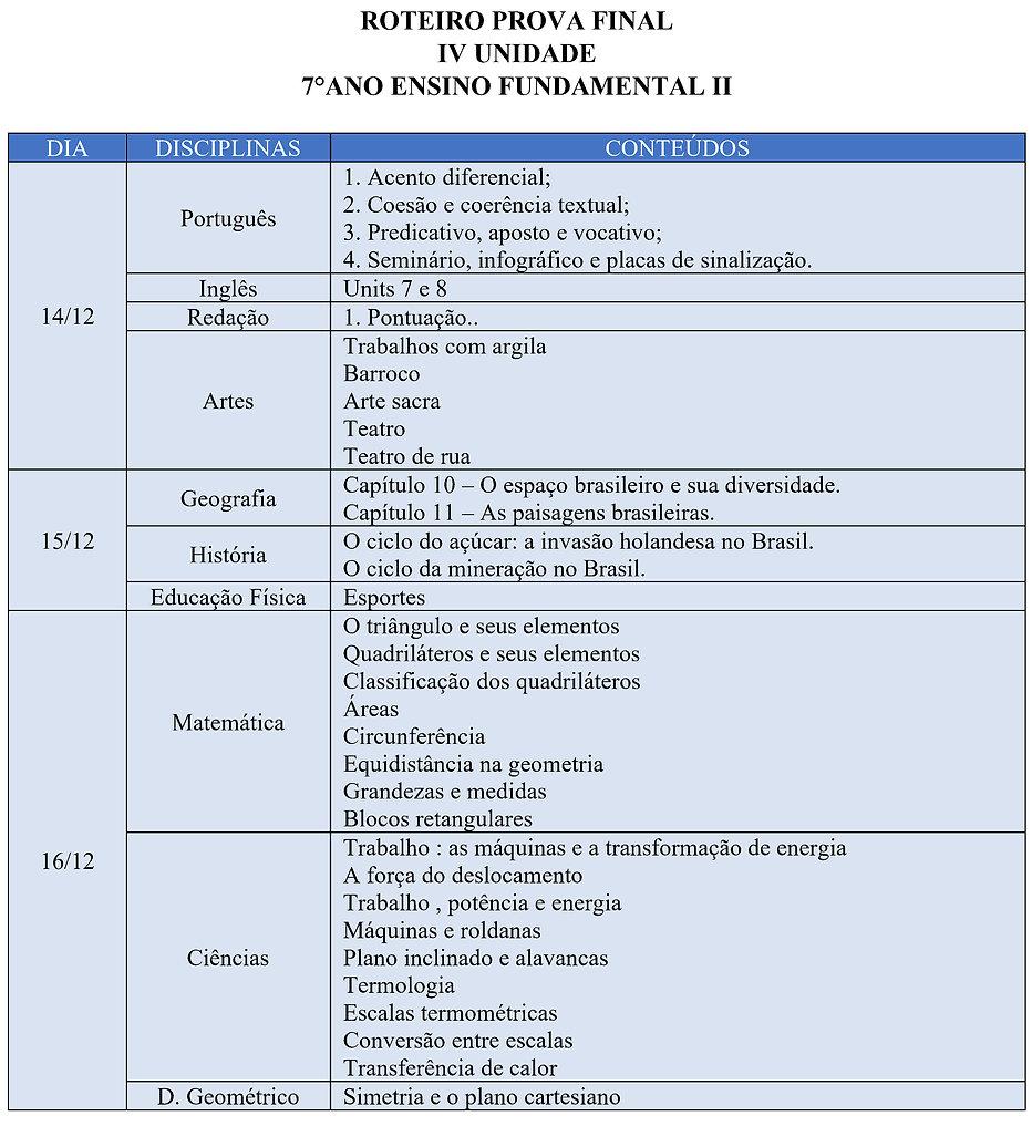 CRONOGRAMA E ROTEIRO DAS PROVAS FINAIS 7