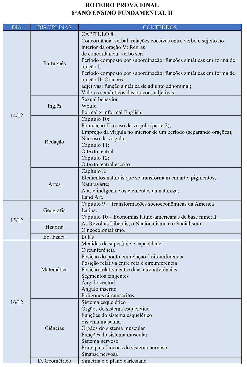 CRONOGRAMA E ROTEIRO DAS PROVAS FINAIS 8