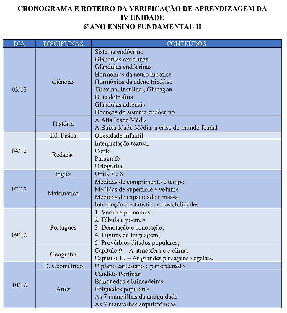 CRONOGRAMA E ROTEIRO DAS AVALIAÇÕES IV U