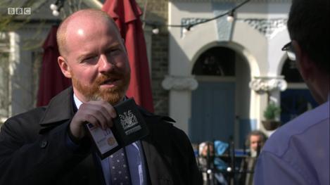Andy making arrests in Eastenders (BBC) debut