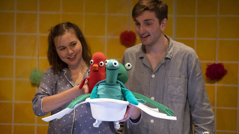 Elliot records The Flying Bath for Little Angel Theatre online