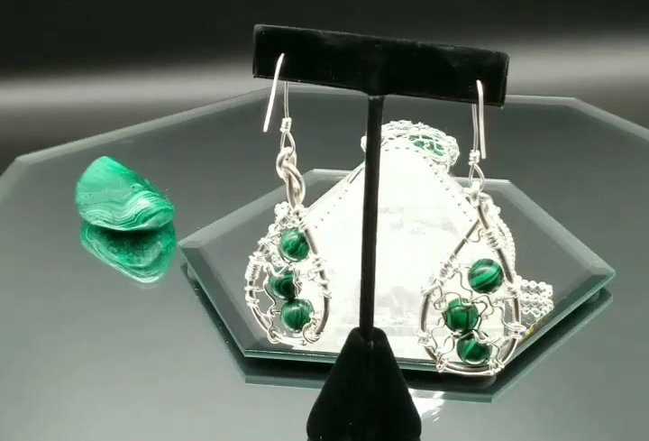 Malachite and Sterling Silver Necklace and Earring Set