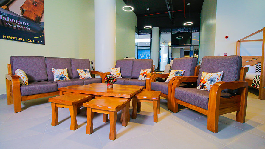 7 Seater Mahogany SofaSet. Clean cut, minimalist. Grey fabric sofa