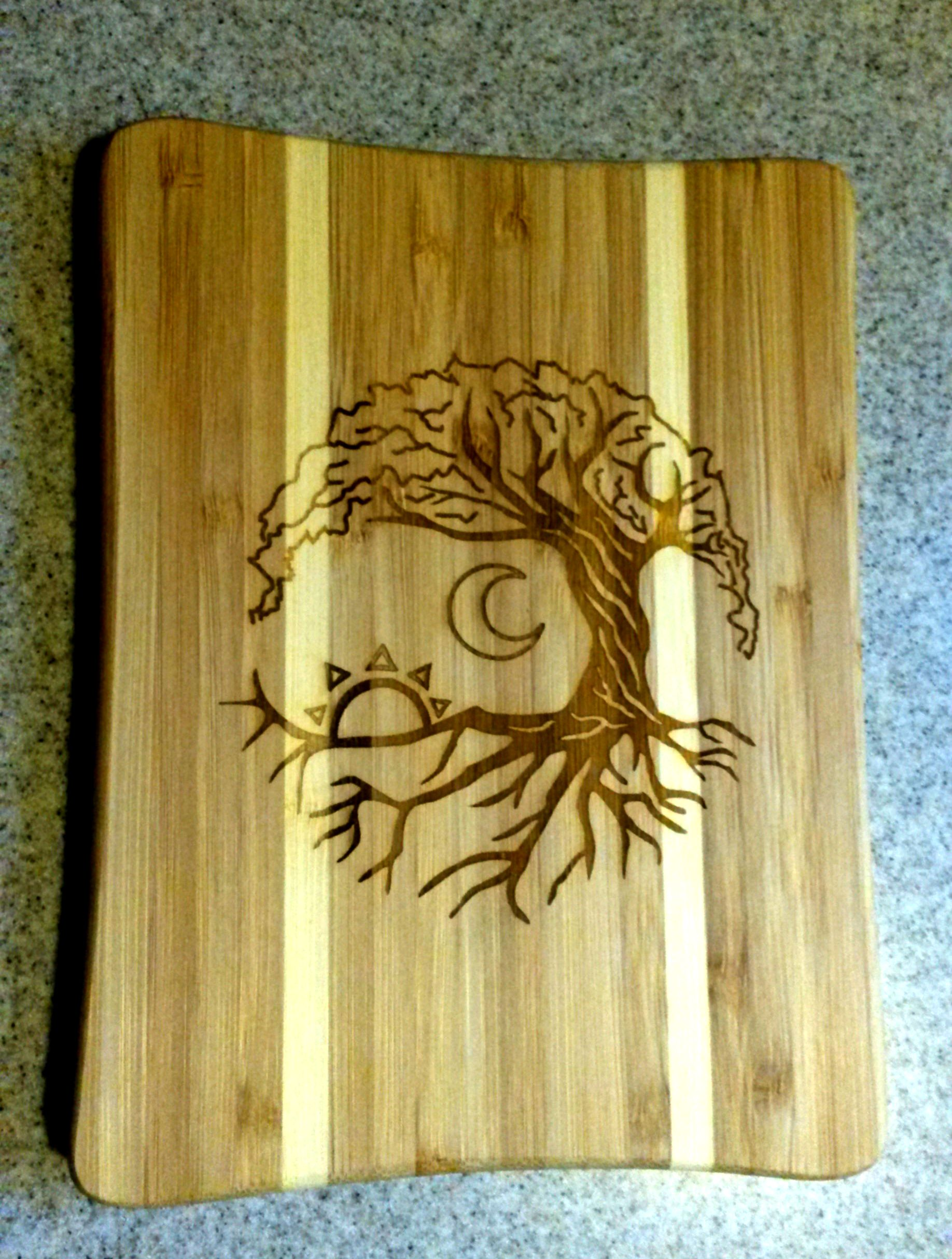 Tree sun moon cutting board