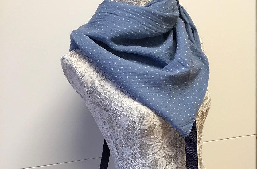 Mussline Dreieckstuch, Damen-Größe 150 cm, Foto in jeansblau mit weißen Punkten