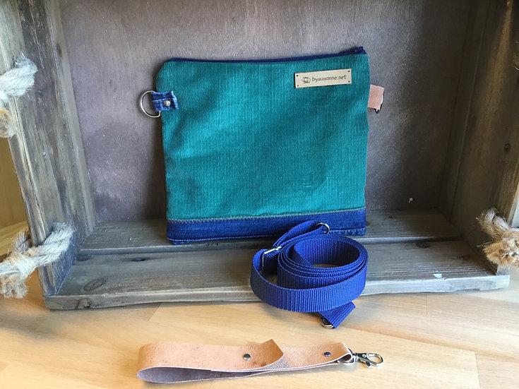 Multifunktionale Tasche in Feincord Hellgrün