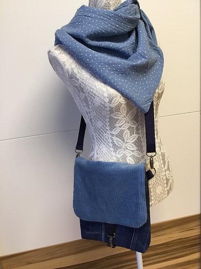 Tasche Polly mittel mit Cordfarbe jeansblau,