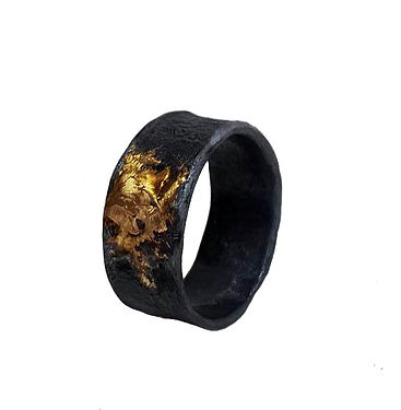 Niziblian oxidised silver ring with 18ct gold
