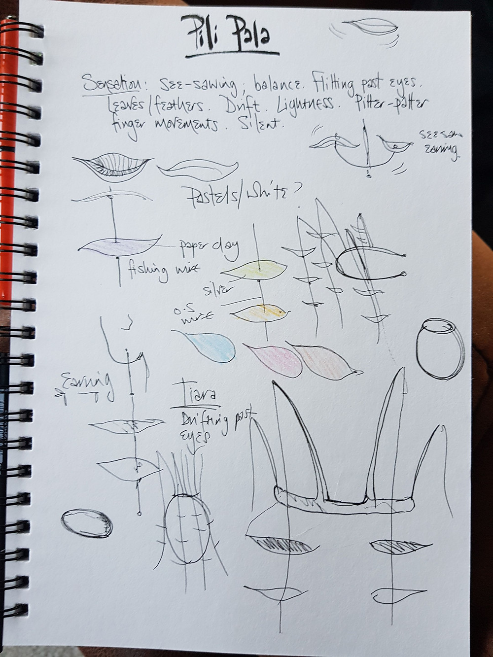 initial response and sketches to the word 'pili-pala'