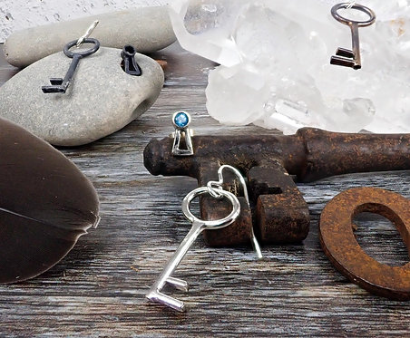 Lock & Key Earrings - gemstone keyhole