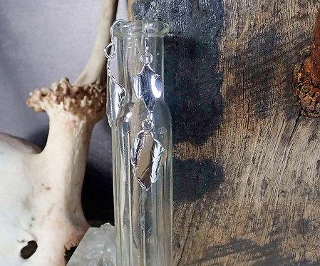 Dragon Scale - long silver earrings
