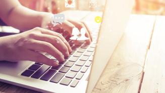 Online marketing concept. Hand of busine