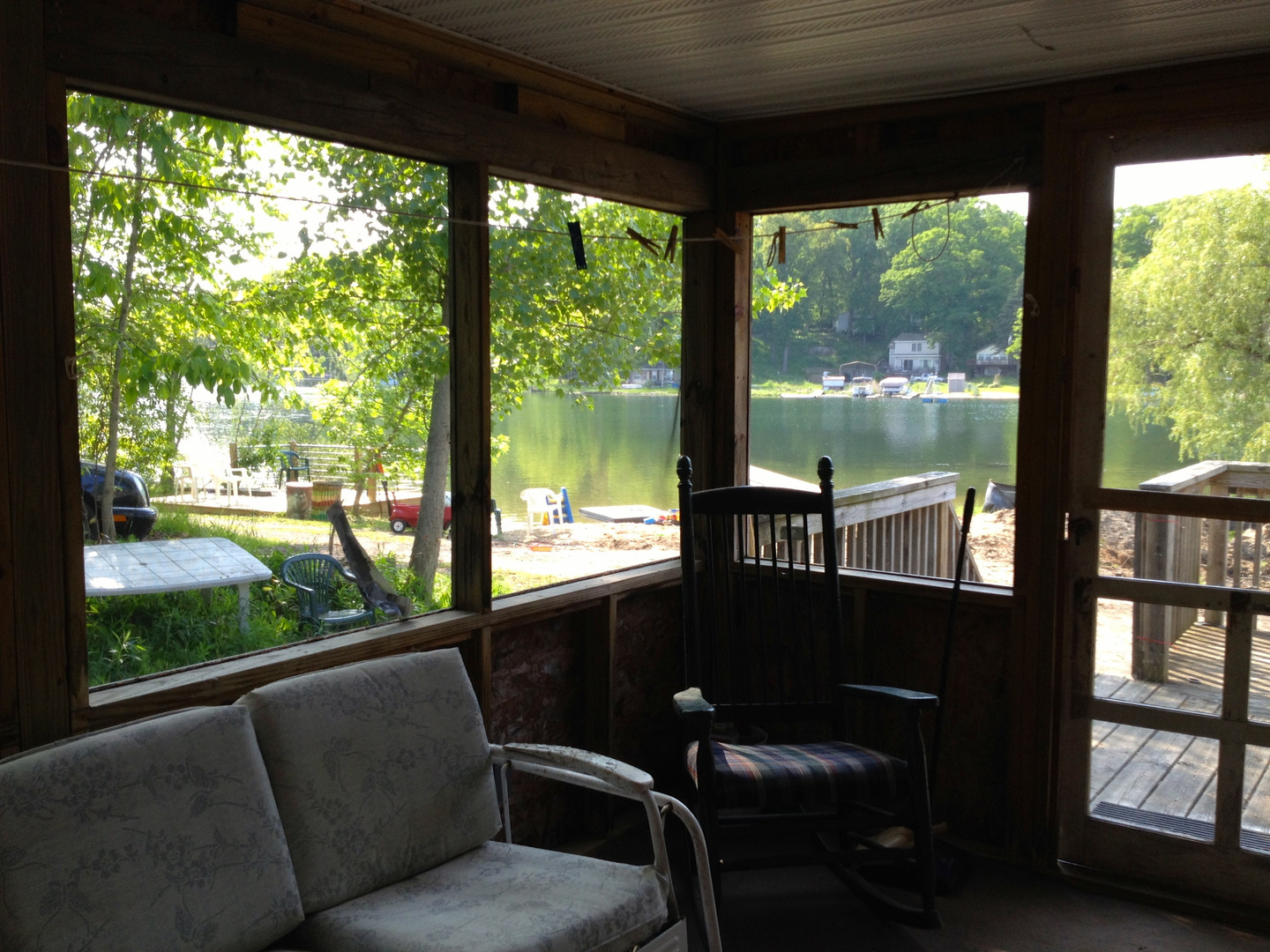 View of Beach and Lake from Screened Porch