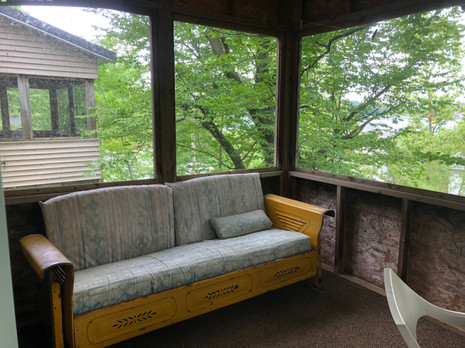 Glider on Oaks Screened Porch, Twin Porch in Background