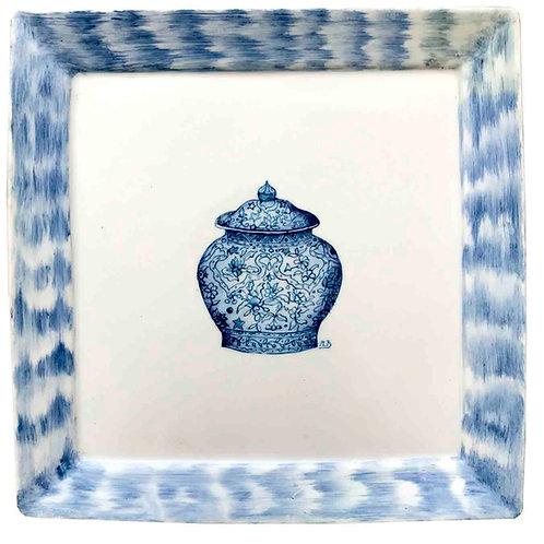 Cenicero con borde IKAT en tonos azul con un tenor central