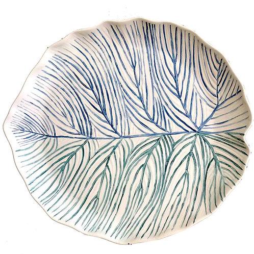 Bandeja de porcelana pintada a mano en forma de hoja azul y verde