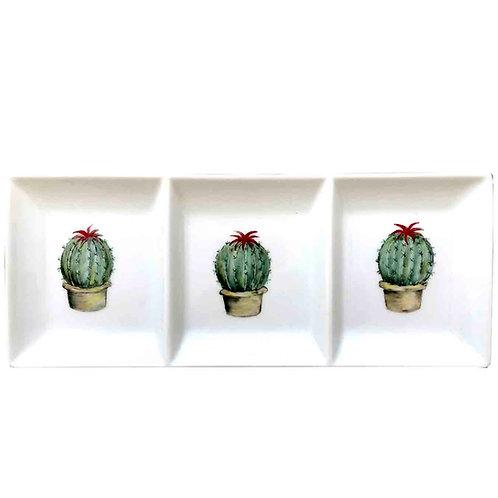 Bandeja con tres compartimentos con cactus. Porcelana pintada a mano, bandeja única y exclusiva.