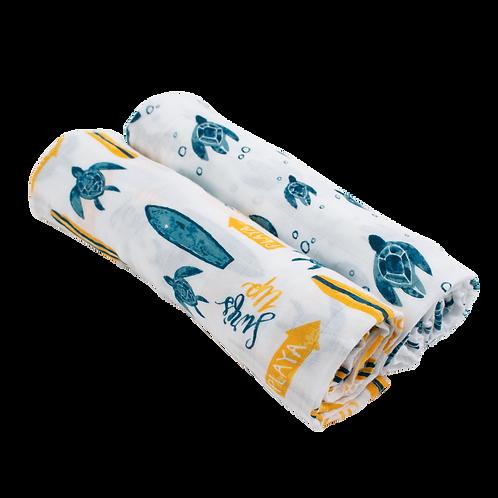 Surf + Sea Turtles Luxury Muslin Swaddle Blanket Set