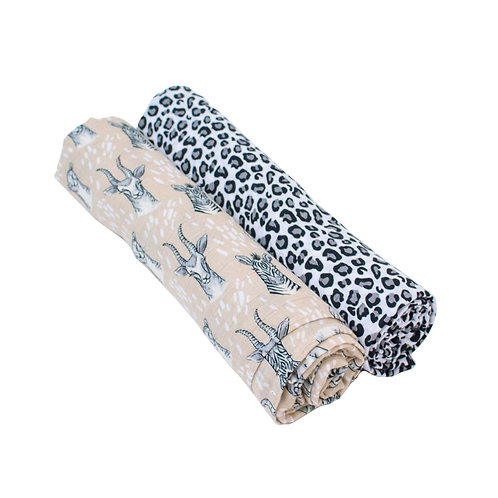 Safari + Leopard Luxury Muslin Swaddle Blankets
