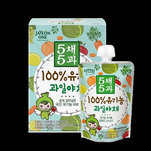 5-Free 100%有機雜果及蔬菜汁 (1盒共4包)