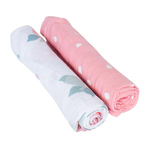 Rosy + Dewdrops Luxury Muslin Swaddle Blanket Set