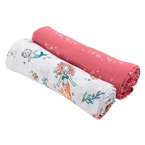 Mermaid + Bubbles Luxury Muslin Swaddle Blanket Set