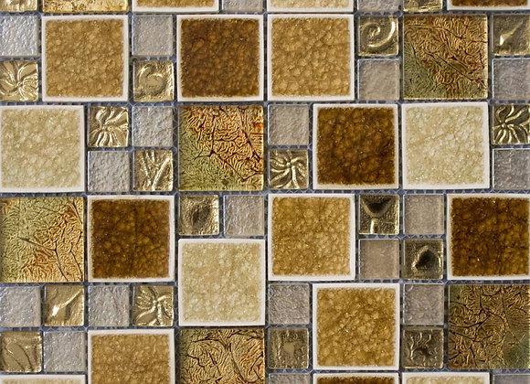 Gold Leaf Square Glass Mosaic