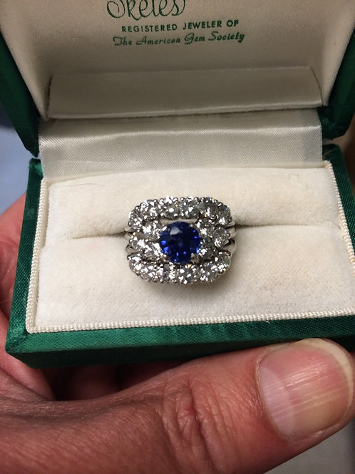 Blue Spinel Diamond Ring