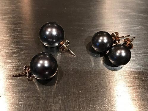 Black/Silver Pearl Earrings