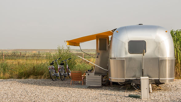 Vintage america mobile home on a camping