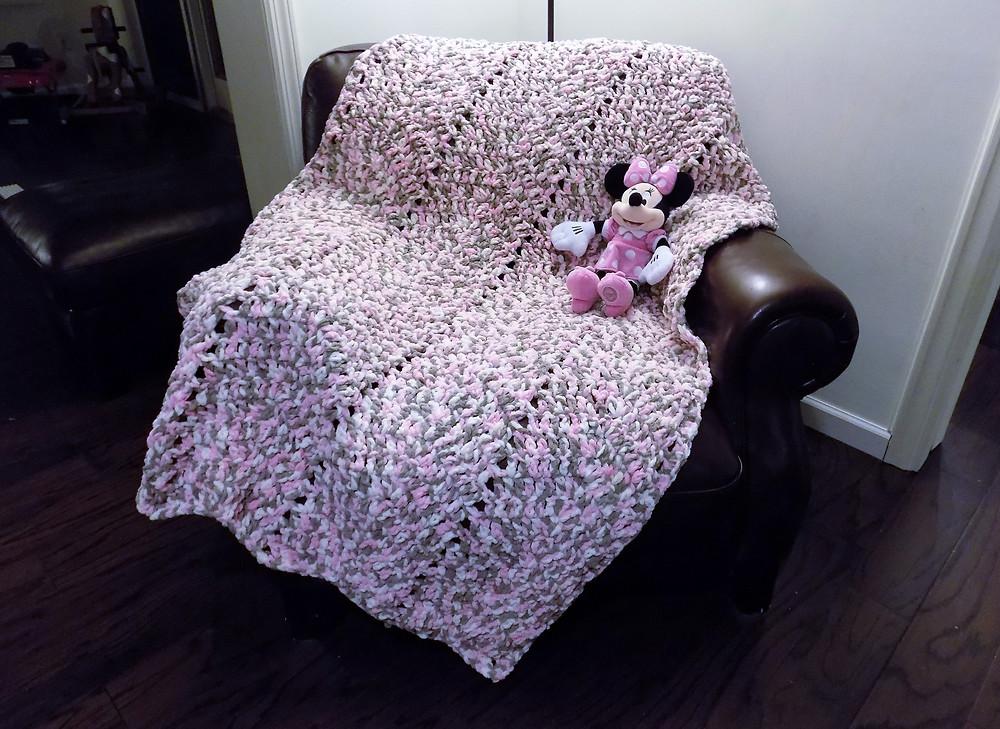crocheted baby blanket, hygge bug