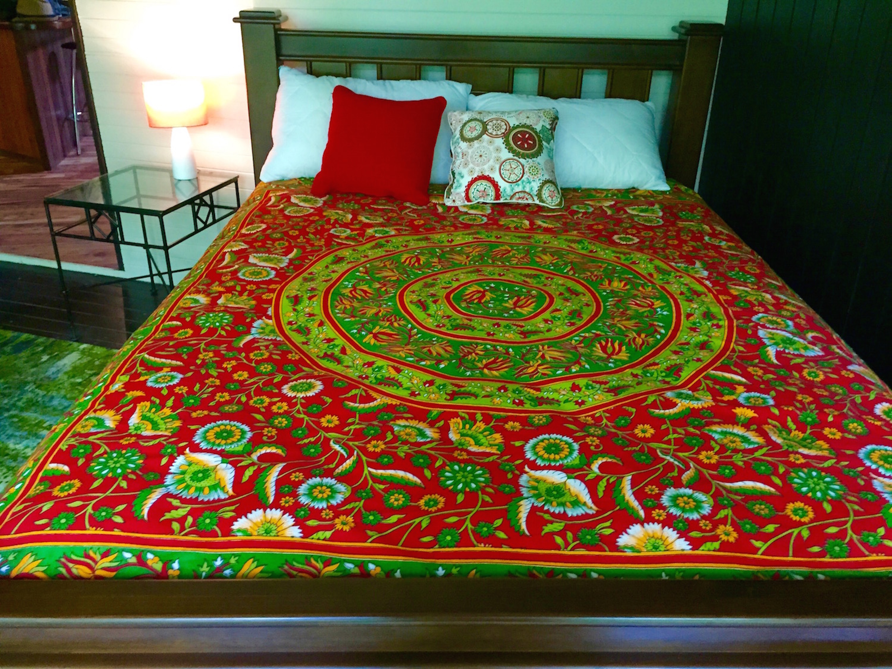 Bed with red cover
