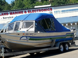 Seahawks boat enclosure with stern cover