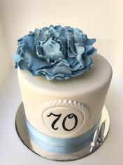 70th Birthday cake with handmade Fondant Peony Rose topper
