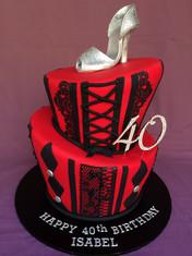 Topsy-Turvy 'Sexy Vegas' themed cake topper with Handmade fondant Glitter Stiletto to match Birthday invitations
