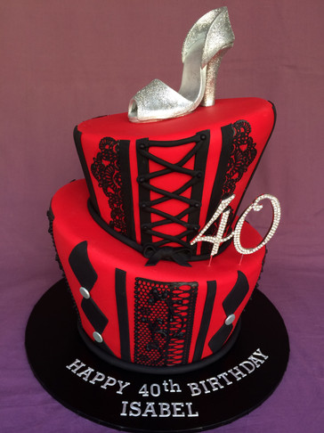 Topsy-Turvy 'Sexy Vegas' themed cake topper with Handmade fondant Glitter Stiletto to match Birthday invitations