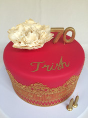 Glam Hot Pink cake with Gold cake lace and Handmade fondant Peony Rose