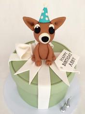Suprise 'Present box' cake with Fondant Ribbon/Bow & 3D handmade fondant 'Chihuahua' represnting birthday girl's pup