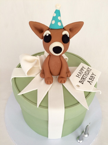 Suprise 'Present box' cake with Fondant Ribbon/Bow & 3D handmade fondant 'Chihuahua' represnting birthday girl's pup