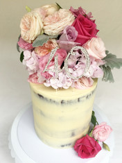Semi-Naked Choc Mud/White Choc ganache double height cake with Fresh Flowers & 40 Bling