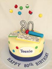 Bingo themed 80th cake complete with Handmade fondant Bingo essentials