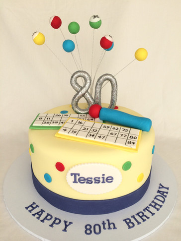 Bingo themed 80th cake complete with Handmade fondant Bingo essentials