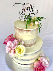 Tiered White Choc ganache Semi-naked cake with Fresh Flowers & Topper