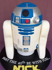 3D sculpted R2D2 cake