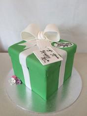 3D Present Box cake with Fondant Ribbon/Bow & fave pup