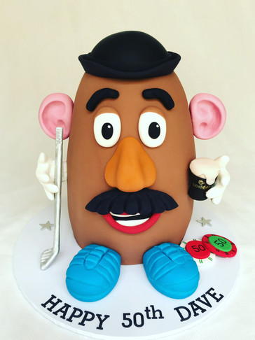3D sculpted Mr Potato Head surprise 50th Birthday cake