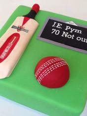 Cricket themed 70th cake with Handmade fondant Gray Nicolls Bat, Ball & Scoreboard