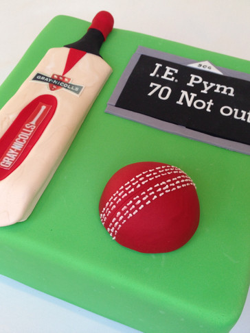 Cricket themed 70th cake with Handmade fondant Gray Nicolls Bat, Ball & Scoreboard